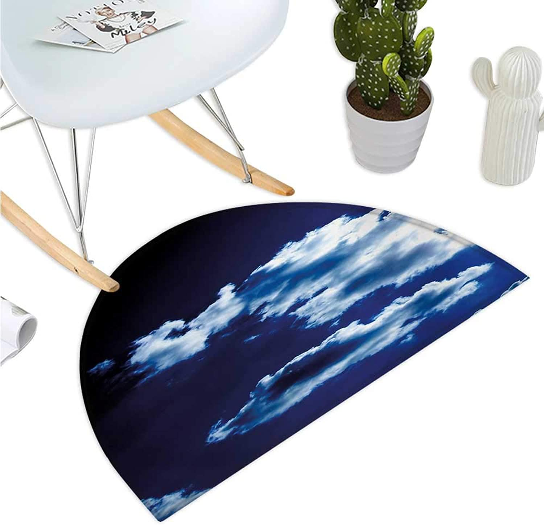 Dark bluee Semicircle Doormat Sky and Dramatic Clouds Natural Phenomena Sunset Sunrise Theme Majestic Halfmoon doormats H 51.1  xD 76.7  bluee Dark bluee White