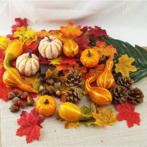 166 pezzi di zucche autunnali artificiali, mini zucche, pigne, foglie, ghiande e bacche Kit di decorazione autunnale per il giorno del ringraziamento e Halloween