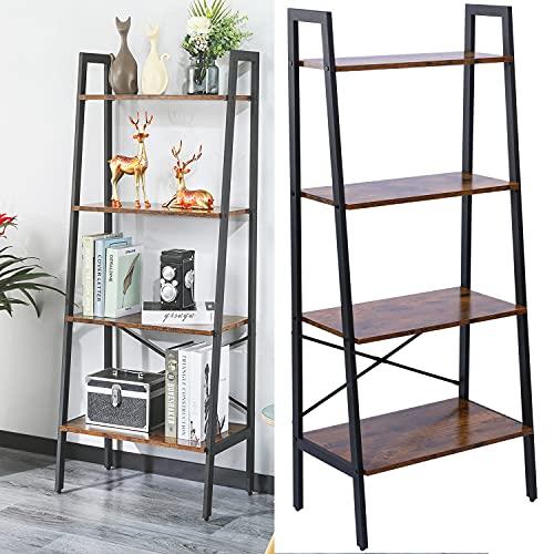 ZHZJ Ladder Shelf,4 Tier Vintage Bookshelf,Wood Ladder Bookcase,Stable Metal Frame,Storage Rack Shelf for Living Room, Office Room, Rustic Brown SHLS0014