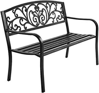 MODAA Vintage Style Cast Iron Garden Bench Seat, Weatherproof Outdoor Steel Chair Patio Furniture Lounge Porch Lounger Lov...