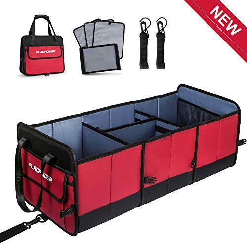 FLAGPOWER Auto Kofferraumtasche KFZ Aufbewahrungstasche Universal Faltbare Auto Kofferraum Organizer rutschfest Kofferraumtasche + Multi-Abteil für Auto SUV Minivan (Rot & Schwarz) (Rot)