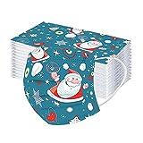 Pingtr 50 piezas de protector dental unisex para adultos, bufanda turbante con estampado de dibujos animados no reutilizable estampado de alce con estampado de Santa
