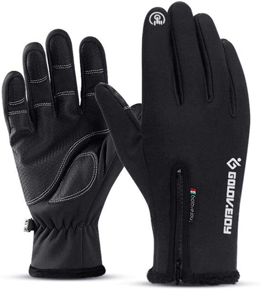 Cold-proof Unisex Waterproof Winter Gloves Cycling Fluff Warm Gloves Black Gloves L Refer Size Chart
