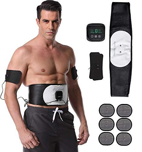 EMS Trainingsgerät,Bauchmuskeltrainer mit 6 Modi & 10 Intensitäten, Muskelstimulation Elektrisch Bauchweggürtel für Damen Herren - Hilfe beim Abnehmen, Muskelaufbau und Figurformung