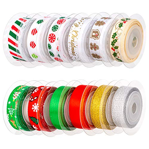 AIEX 12Pcs Christmas Ribbon, Satin Ribbons for Crafts Decorations, Xmas Ribbon Set for Christmas Gift Box Wrapping, Sewing, Hair Banding, Wedding, DIY Crafts (12 Colors, 60 Yards 3/8 Inch)