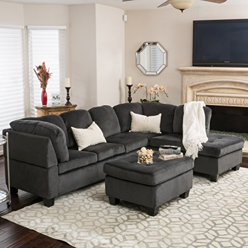 Christopher Knight Home Gotham 3-Piece Charcoal Fabric Sectional Sofa Set