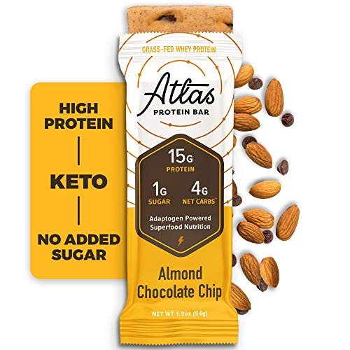 Atlas Bar - Keto Protein Bars, Chocolate Cacao - High Protein, Low Sugar, Low Carb, Grass Fed Whey, Healthy Protein, Gluten Free, Soy Free (10-pack)