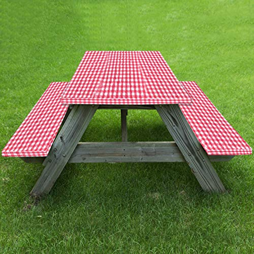 Fitted Elastic Edged Tablecloth and Bench Cover for Outdoor Picnic Rectangle Tables Spillproof Table Seat Covers 72X28 Inch, 3 Piece Set (Red)