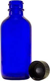 4 oz Cobalt Blue Empty Glass Bottle - w/ Screw Caps - pack of 6