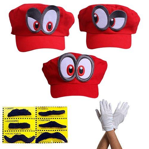 3x Super Mario gorra Odyssey - Conjunto de 3x guantes y 6x barba pegajosa Costume para adultos y niños - Perfecto para el Carnaval y el Cosplay