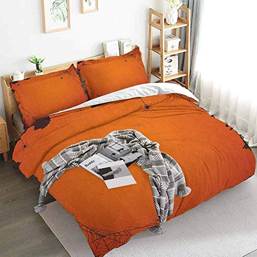 Aishare Store Spider Web Duvet Cover Set,Grunge Halloween Composition Scary Framework with Insects Abstract Cobweb,Decorative 3 Piece Bedding Set with 2 Pillow Shams,King(104'x90') Orange Brown