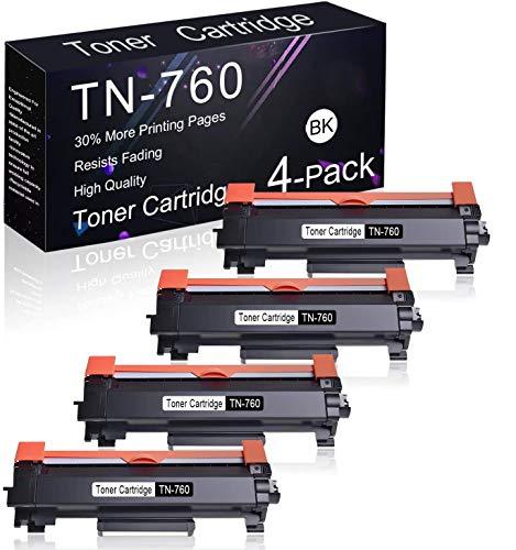 Compatible Toner Cartridge 4 Pack Black TN-760 Replacement for Brother DCP-L2550DW, HL-L2395DW, HL-L2390DW, HL-L2370DW/DWXL, HL-L2350DW, MFC-L2750DWXL, MFC-L2750DW, MFC-L2710DW Printers.