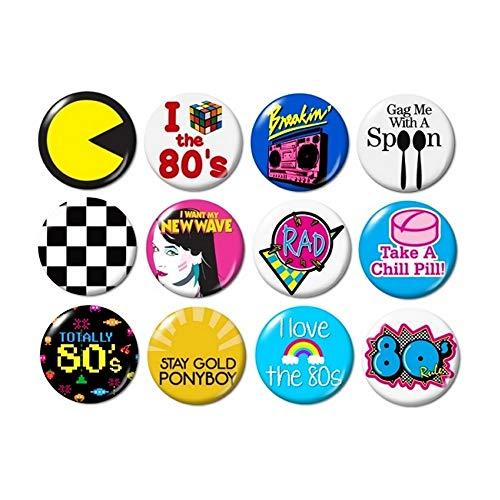 1980's Themed Button Badge Set, 12 pcs