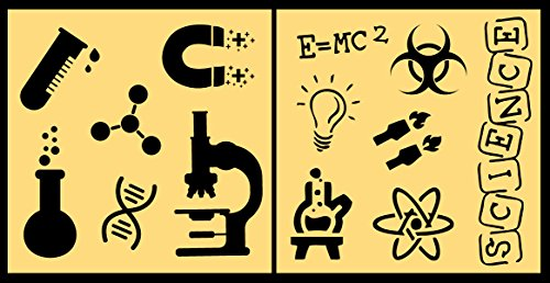 Auto Vynamics - STENCIL-SCIENCESET01-20 - Detailed Science & Equipment Stencil Set - Featuring Microscope, Magnet, DNA Helix, More! - 20-by-20-inch Sheet - (2) Piece Kit - Pair of Sheets
