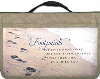 Footprints Canvas Large Book and Bible Cover