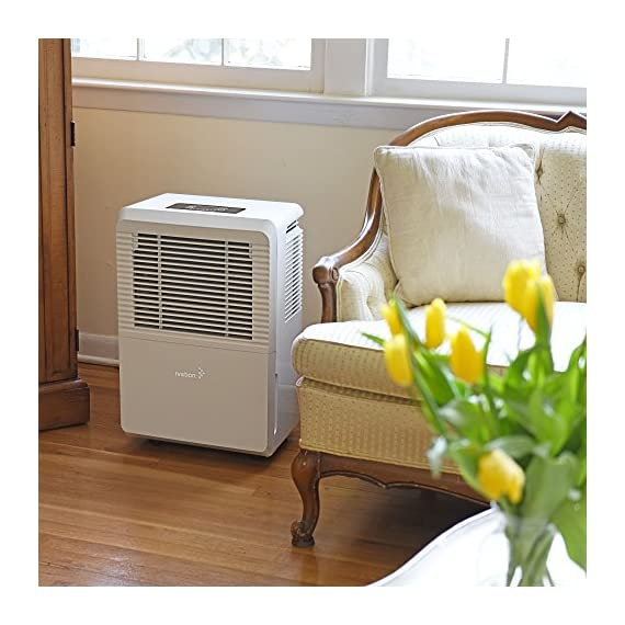 Ivation 4,500 Sq Ft Energy Star Dehumidifier with Pump - Large Capacity Compressor for Spaces Up To 4,500 Sq Ft… 6 This Compressor Dehumidifier Keeps Spaces Up to 4,500 Sq. Ft. Cool & Comfortable by Removing 50 Pints of Moisture/Day (70 Pint according to the old DOE standards, in 2019 this was classified as 70 pint and it now needs to be classified as 50 pint but IT REMOVED THE SAME MOISTURE AS THE OLD 70 PINT) Built-In Humidity Sensor - The LCD accurately displays the current humidity level in the room, enabling you to set your ideal levels for automatic moisture control Built-In 16W Pump Delivers Worry-Free Use w/Continuous Upward Water Drainage Out of Basement Window or Into Sink