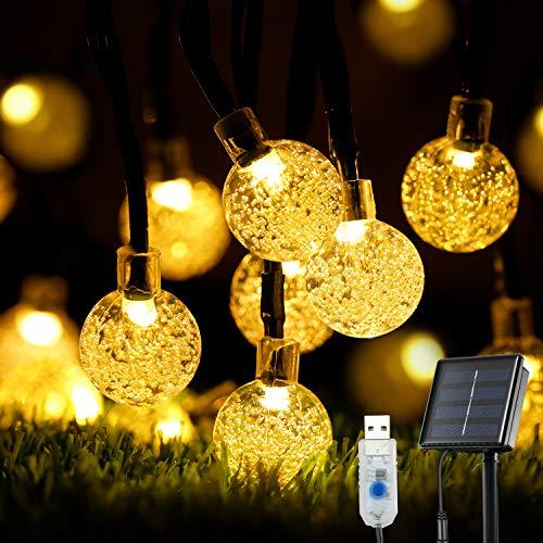 Solar String Lights Outdoor, OxyLED 39 Ft 60 LED Solar Fairy String Lights Garden Solar/USB Powered Waterproof Crystal Ball Decorative Fairy Lights for Garden, Patio, Yard, Wedding Party