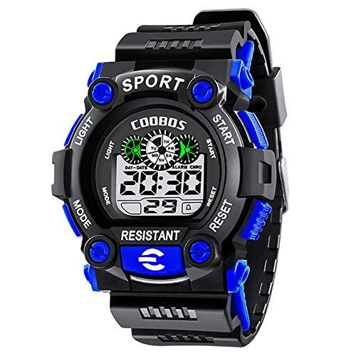 HaIfeng Reloj para Niños Alarma Hijos Deportes Impermeable Reloj Digital de Pulsera for niños LED de luz de Fondo Muchachas de los bebés de los Relojes (Color : 1008blue)