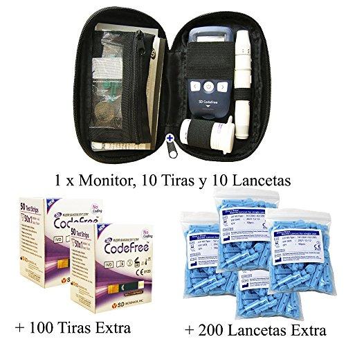 Glucómetro SD Codefree - Incluye: Estuche con 10 Tiras y 10 Lancetas + 100 Tiras y 200 Lancetas Adicionales