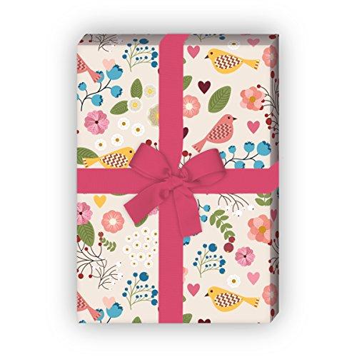 Kartenkaufrausch Lichtgewicht cadeaupapierset met vogels en bloemen voor lieve geschenkverpakking, doe-het-zelf projecten, knutselen, 4 vellen, 32 x 48 cm decorpapier, patroonpapier om in te pakken
