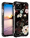 Lontect for Google Pixel 5 Case Floral 3 in 1 Heavy Duty Hybrid Sturdy High Impact Shockproof Protective Cover Case for Google Pixel 5 (6 inches Dsiplay 2020), White Flower/Black