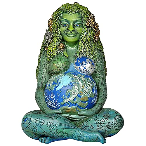 Millennial Gaia Statue,7 inches Mother Earth Figurine Colored Green Earth Mother Goddess Statue Home and Garden Decorative Ornament