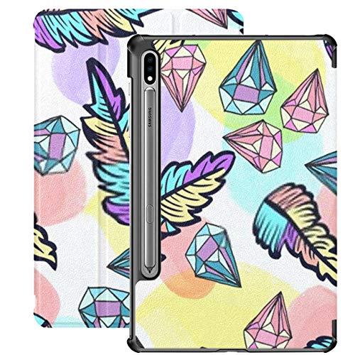 Estuche para Galaxy Tab S7 Estuche Delgado y liviano con Soporte para Tableta Samsung Galaxy Tab S7 de 11 Pulgadas Sm-t870 Sm-t875 Sm-t878 2020 Lanzamiento, patrón de Vector Transparente Cristales Pl
