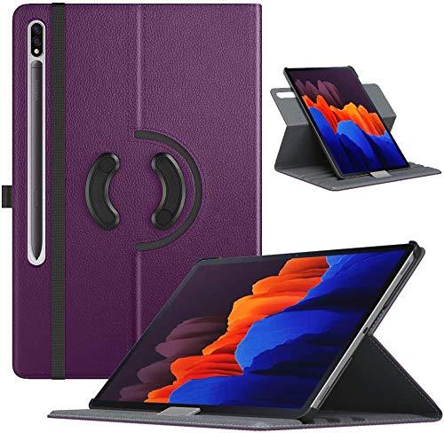 TiMOVO Schutzhülle Kompatibel mit All-New Samsung Galaxy Tab S7 Plus 12.4 Inch Tablet (SM-T970/T975/T976), PU Lederhülle 90° Drehbar Auto Wach/Schlaf Multi-Winkel Hülle, Violett