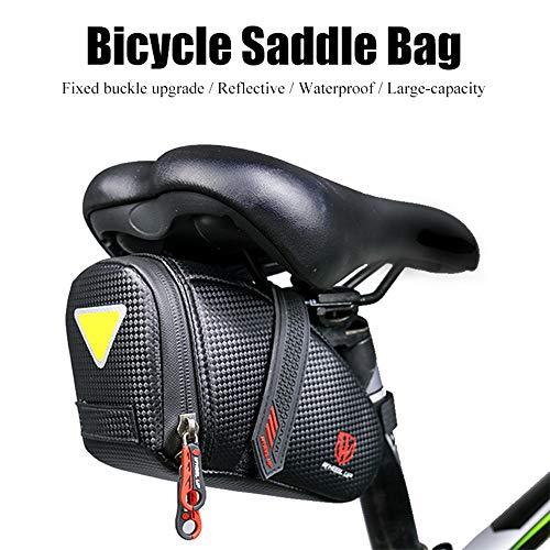 Bnrsyku - Bolsa de almacenamiento para sillín de bicicleta, color negro, color negro, tamaño talla única