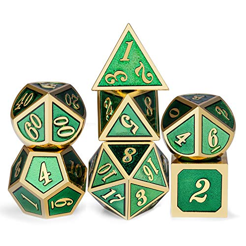 Metal Dice Set D&D, 7 Die Green DND Dice with Metal Case for Dungeons and Dragons Role Playing Game and Tabletop Games (Gold Number with Enamel Green)