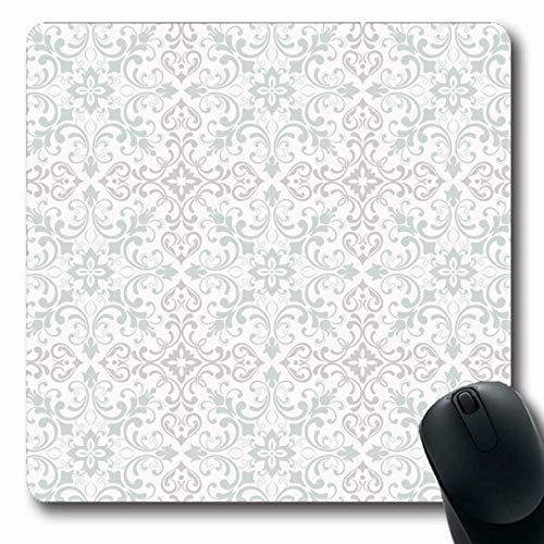 Jamron Mousepad OblongTextile Damastmuster Flourish Fliesen Luxus Seide Rokoko Verzierte abstrakte Retro-Texturen Modische rutschfeste Gummi Mauspad Büro Computer Laptop-Spiele Mat.-Nr.
