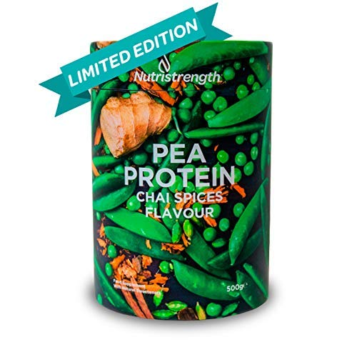 Vegan Protein Powder | Pea Protein Isolate with Naturally Enhanced Flavour | Soy & Lactose (Dairy) Free | 100% Plant Based Lean & Low Fat Nutritional Powder-Chai Spices Flavour [500g]