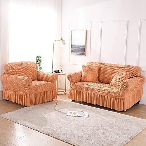 ASCV Asiento Funda de sofá elástica de Color sólido para Sala de Estar Fundas seccionales elásticas Impresas Funda de sofá en Forma de L A1 4 plazas