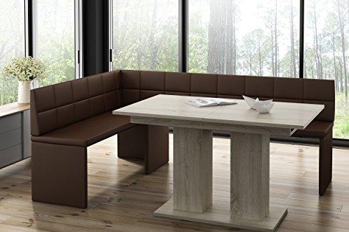 MyStyleWood Marta - Panchina angolare in legno di quercia con tavolo a colonna, imbottito, in ecopelle, facile da pulire, struttura in legno stabile, 142 x 196 l