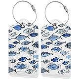 Etiquetas para equipaje de acuario con diseño de peces, color azul, con correas ajustables para viajes y negocios, 2 por juego