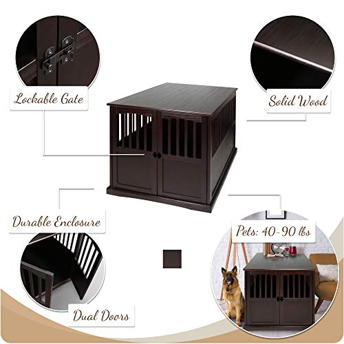 Casual Home Wooden Extra Large Pet Crate, End Table, Espresso