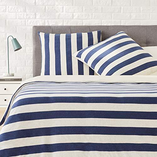 AmazonBasics - Bettwäsche-Set, Jersey, breite Streifen, 200 x 200 cm / 80 x 80 cm, Marineblau