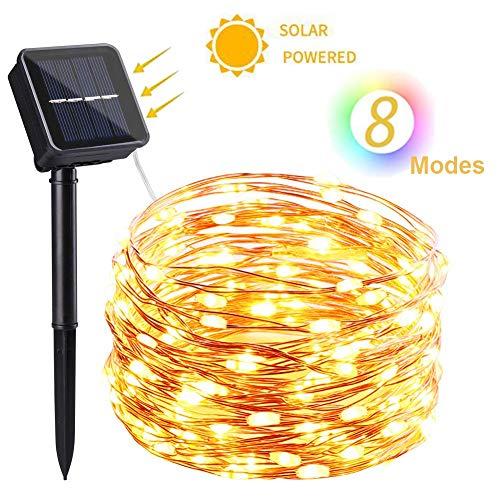 NEXVIN Solar Lichterkette Außen, 10m 100 LED Solar Kupferdraht Lichterkette, 8 Modi Wasserdicht Solarlichterkette Aussen Deko für Garten, Terrasse, Balkon, Hochzeit (Warmweiß)