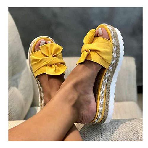 XXXZZL Sandalias de Vestir para Mujer Verano Zapatilla de Plataforma con Cuña Paja Tejida con Lazo Zapatos Casual Ocio de Ancho Sandalias con Plataforma para Mujer,Amarillo,41EU
