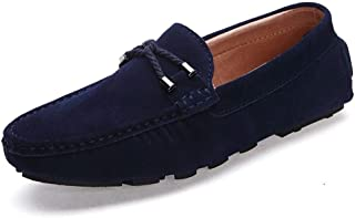 XinQuan Wang Drive Loafer for Men Slip On Moccasins Boat Shoes Suede Leather Handmade Stitching Vamp Decor with Ropes (Color : Blue, Size : 6.5 UK)