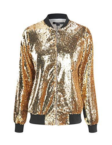 VERO VIVA Damen Funkeln Pailletten Front Zip Mantel Langarm Rippe Bomberjacke - Gold - X-Groß