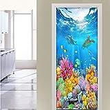 Pegatinas de puerta 3D Etiqueta engomada de la puerta autoadhesiva papel tapiz de peces del océano profundo impresiones de la pared decoración del hogar Mural etiqueta de la puerta del baño77x200cm