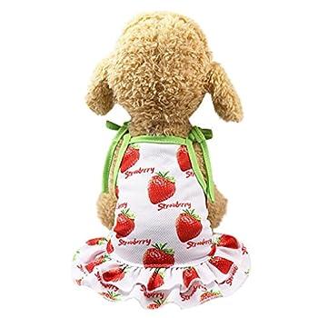 OOEOO Pet Shirt Couple Dress Puppy Dog Princess Doggie Apparel Costume Clothing  Strawberry Dress M