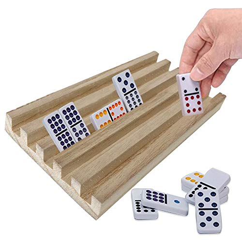 4PCS/Set Wooden Domino Stand,Domino Trays for Chicken Foot Mexican Train and Domino Games