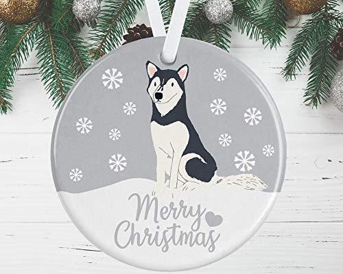 BYRON HOYLE Husky Weihnachtsschmuck grauer Husky Baumschmuck roter Husky Ornament Weihnachtsschmuck 2020 Pandemic Xmas Decor Hochzeit Ornament Urlaub Geschenk