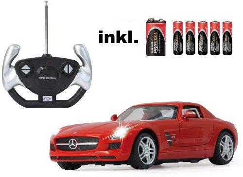 BUSDUGA RC Mercedes Benz SLS AMG 1:14 - ferngesteuert, weiß oder rot - inkl. Allen Batterien -RTR -LED-Licht -komplett Set -Lizenz-NACHBAU (rot)