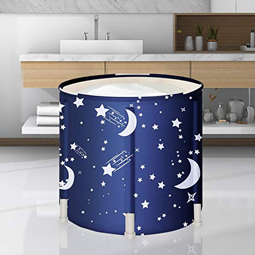 DAILYLIFE Foldable Bath Tub Japanese Soaking Bath Tub with Thermal Foam Folding Portable Bathtub for Small Bathroom Spaces Freestanding Spa Bath Tub with Pillow for Shower Stall Starry Night Blue