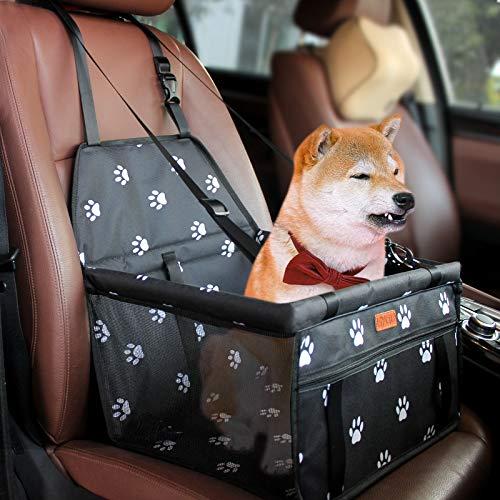 BYGD Bolsa de Transporte para Mascotas, Asiento del Coche de Seguridad para Mascotas Perro Gato Plegable Lavable Viaje Bolsas y Otra Mascota Pequeña con Cremallera Bolsillo[ Paw Pattern]