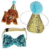 Vektenxi Haustier Katze Hund Geburtstag Caps Bowknot elastische Blingbling Party Kostüm Hut Kostüm...