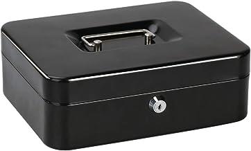 Jssmst Locking Large Metal Cash Box with Money Tray,Lock Box,Black